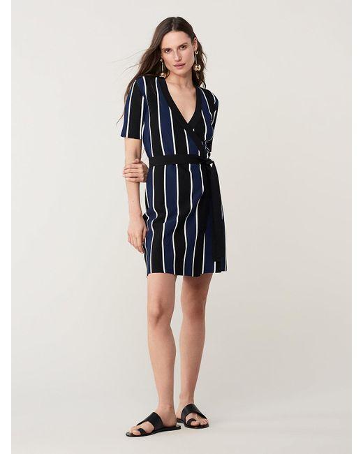 Diane von Furstenberg Blue Iris Knit Wrap Dress