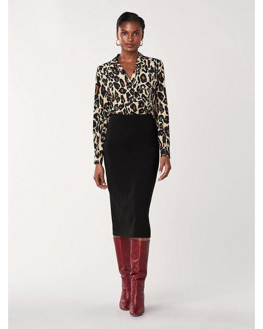 Diane von Furstenberg Black Kara Silk-cady Pencil Skirt