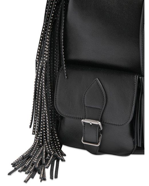 ysl sale bags - Festival Fringed Backpack In Black Leather, ysl card holder price