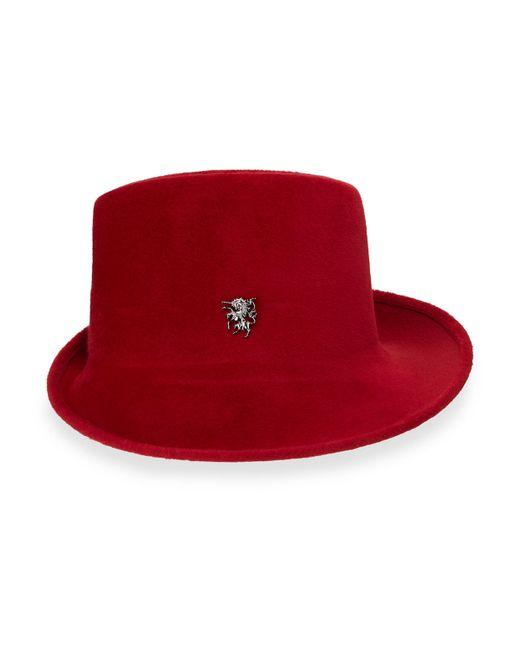 Philip Treacy | Red Felt Sidesweep Hat W/ Unicorn Pin | Lyst