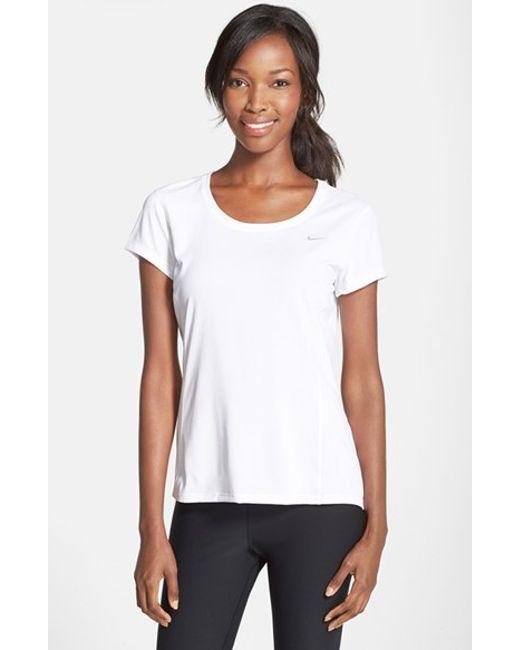 Nike | White 'contour' Dri-fit Tee | Lyst