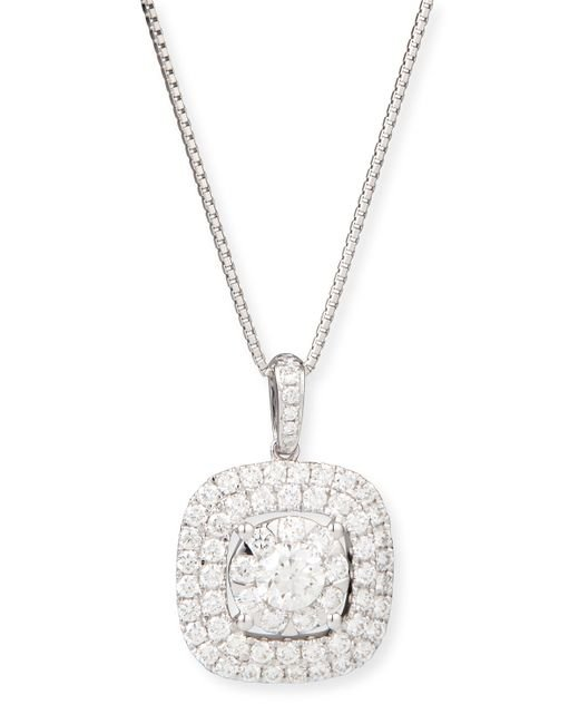 memoire bouquet 18k white gold square pendant