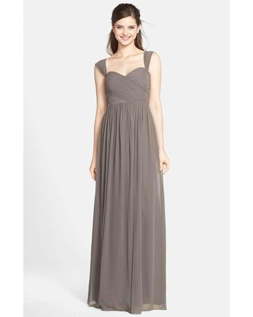 Jenny Yoo | Gray 'leah' Convertible Chiffon Gown | Lyst