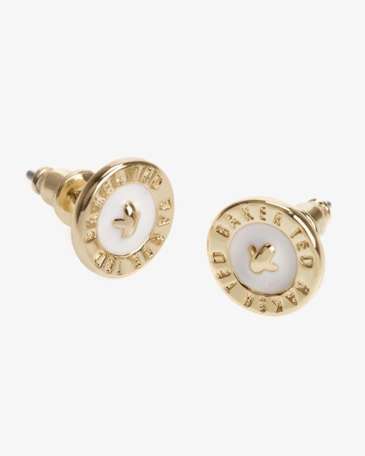 Ted Baker | White Enamel Button Stud Earrings | Lyst