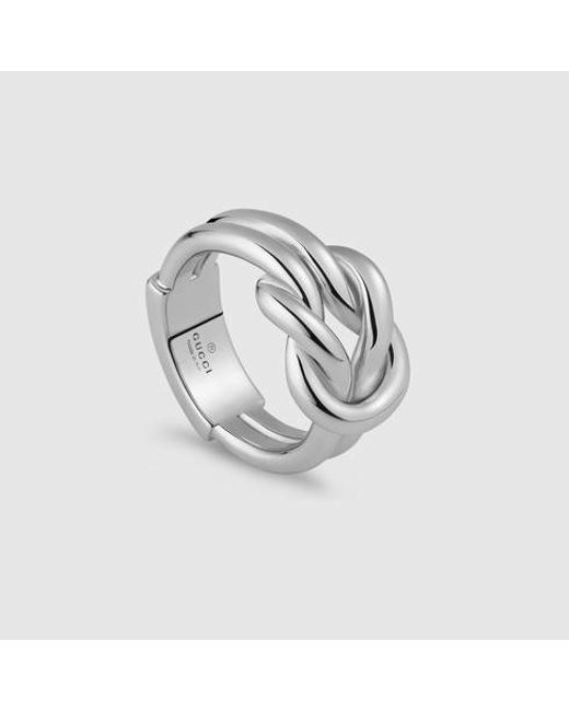 Gucci | Metallic Knot Wide Ring In Silver | Lyst