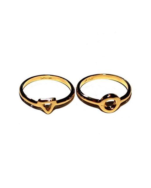 Argento Vivo | Metallic Open Triangle Circle Stack Ring (set Of 2) | Lyst