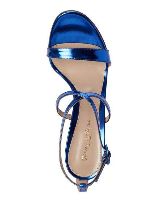 Gianvito Rossi Metallic Cobalt Strappy Sandals In Blue