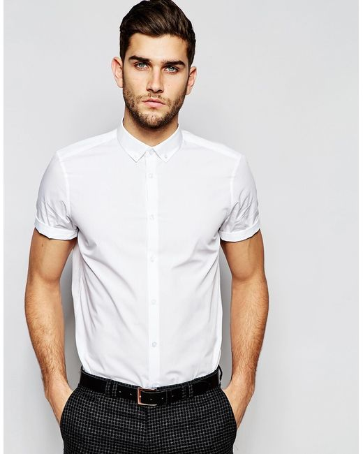 Asos white shirt with button down collar in regular fit for White short sleeve button down shirts for men
