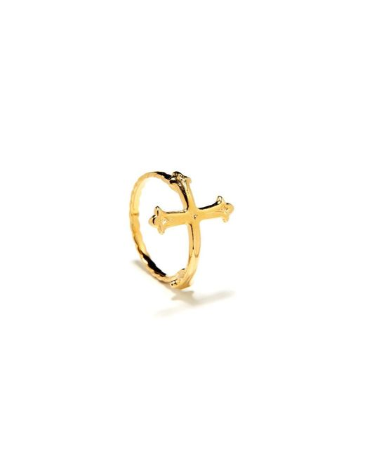 Bing Bang | Yellow Victorian Cross Ring | Lyst