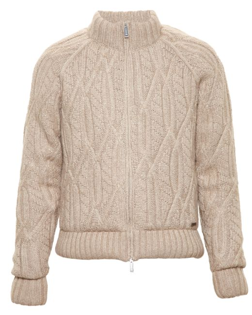 Knitting Pattern Bomber Jacket : Dsquared? Cable Knit Bomber Jacket in Beige (CAMEL) Lyst