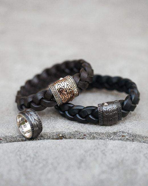 John Hardy Men S Black Bronze Braided Leather Bracelet In