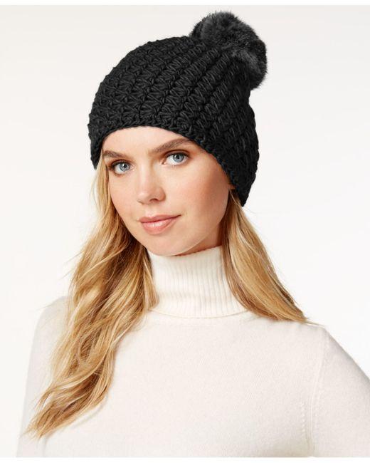 Surell | Black Star Stitched Knit Rabbit Fur Pom Hat | Lyst
