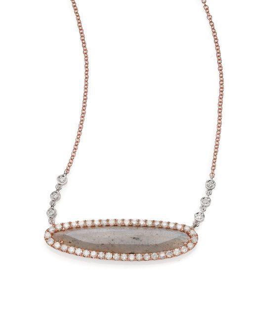 Meira T | Pink Labradorite, Diamond & 14k Rose Gold Oval Pendant Necklace | Lyst