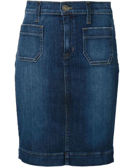hudson denim mini skirt in blue lyst