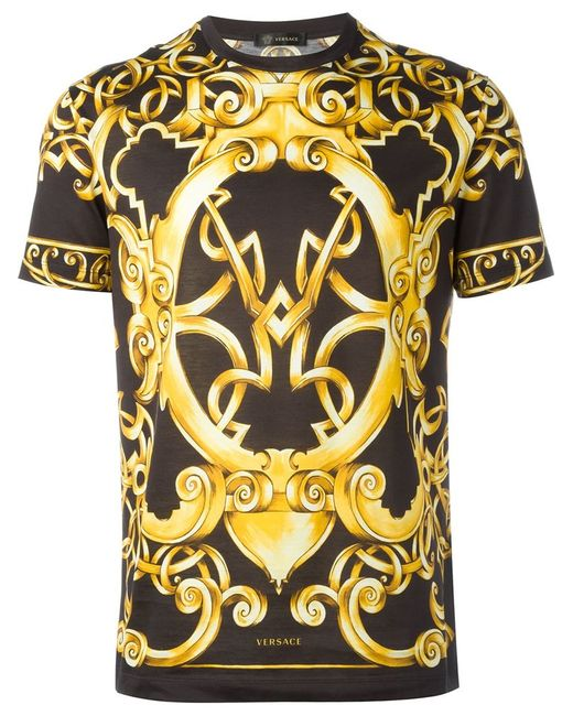 versace baroque print t shirt in yellow for men black lyst. Black Bedroom Furniture Sets. Home Design Ideas