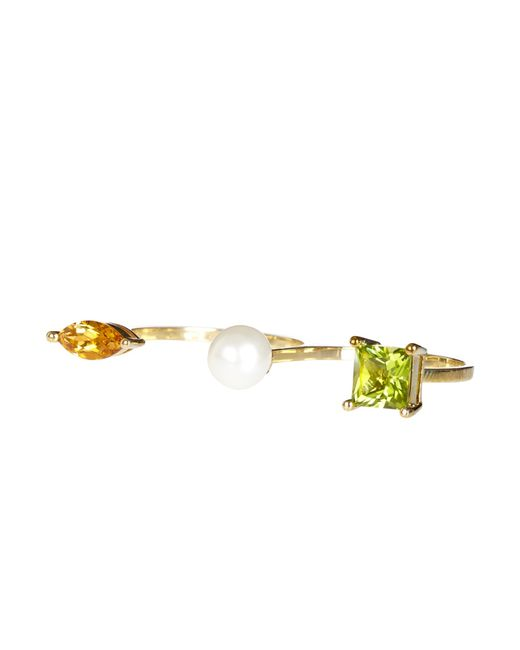 Delfina Delettrez | Metallic Peridot, Citrone, Pearl & Yellow-Gold Ring | Lyst