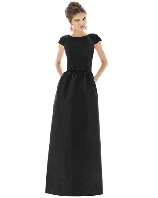Black Bridesmaid Dresses With Cap Sleeves : Alfred sung cap sleeve dupioni full length dress in black