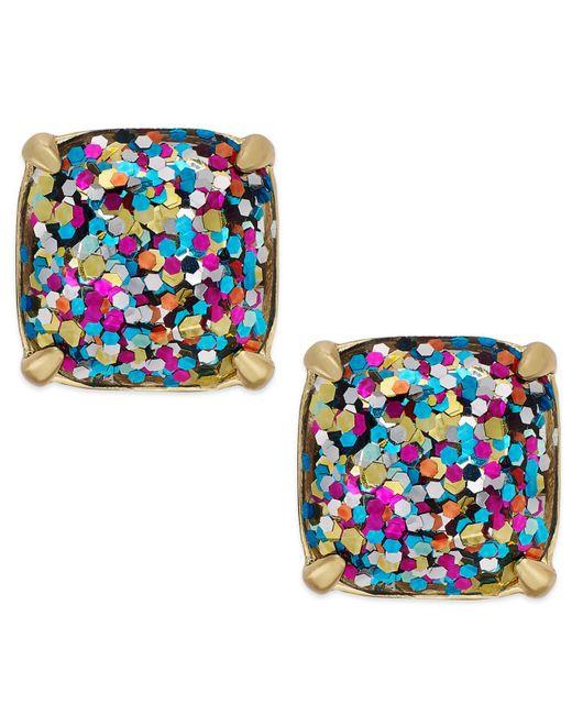Kate Spade | Blue Gold-Tone Glitter Stone Stud Earrings | Lyst