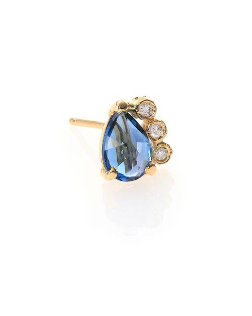 Jacquie Aiche | Blue Topaz, Diamond & 14k Yellow Gold Teardrop Single Stud Earring | Lyst