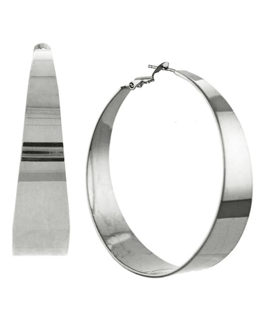 Vince Camuto | Metallic Silver-tone Tapered Hoop Earrings | Lyst