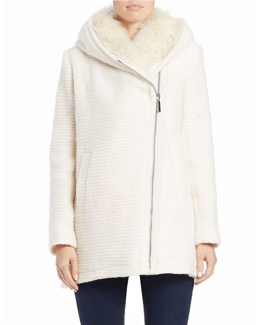 Vince Camuto | White Faux Fur-trimmed Asymmetrical Zip Coat | Lyst