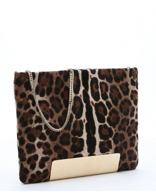 Jimmy choo Brown Leopard Print Calf Hair 'carrie' Chain ...