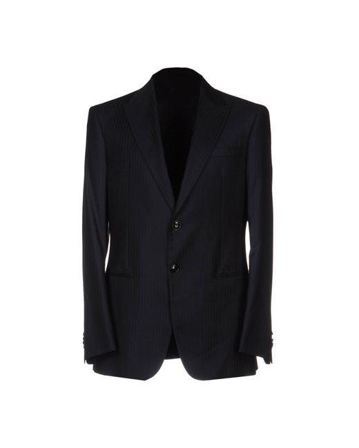 Giorgio Armani Blue Plaid Wool & Cashmere Blazer for men