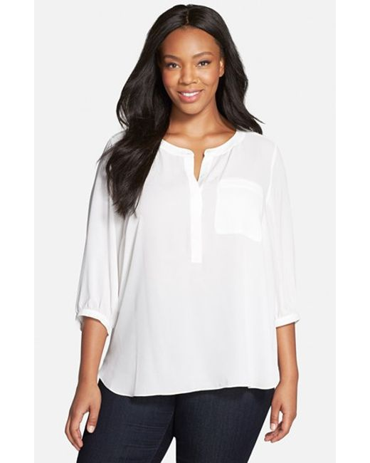 NYDJ | White Henley Top | Lyst