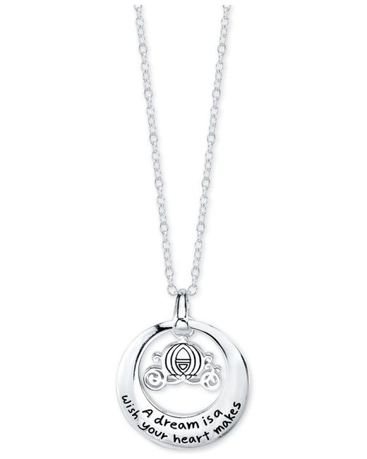Disney | Metallic Engraved Cinderella Carriage Pendant Necklace In Sterling Silver | Lyst