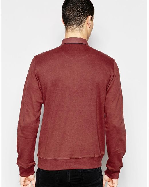 Bellfield Long Sleeved Polo Shirt In Brown For Men Red
