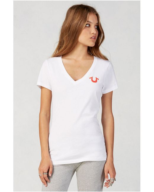 True Religion | White Double Puff Vneck Womens Tee | Lyst