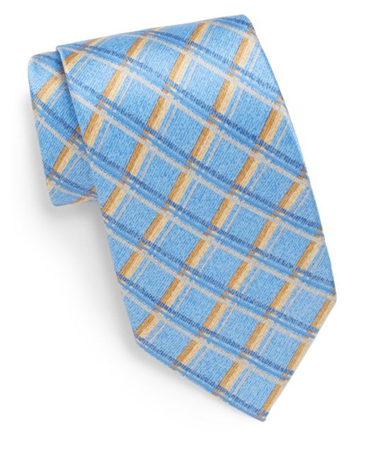 Burma Bibas | Blue Check Silk Tie & Gift Box for Men | Lyst
