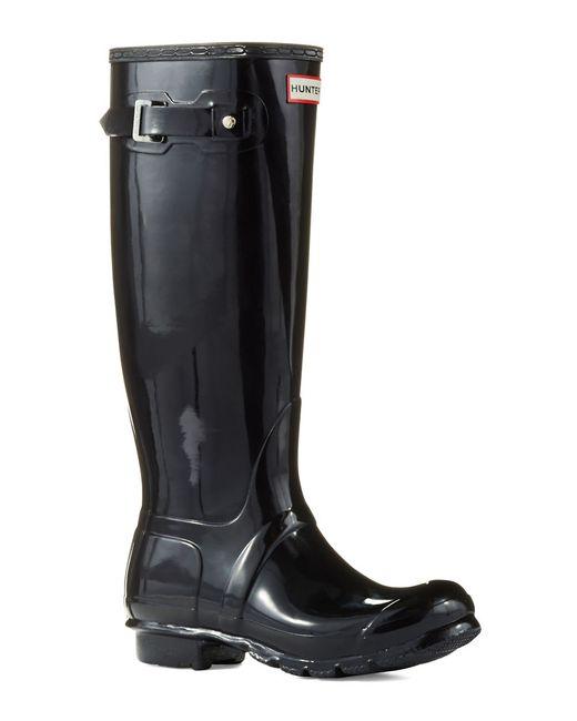 Hunter   Black Original Gloss Rainboots   Lyst