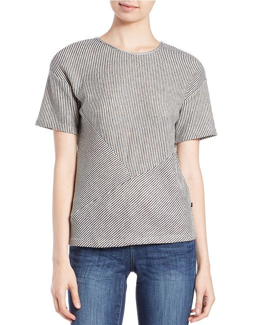 William Rast | Gray Textured Roundneck Top | Lyst