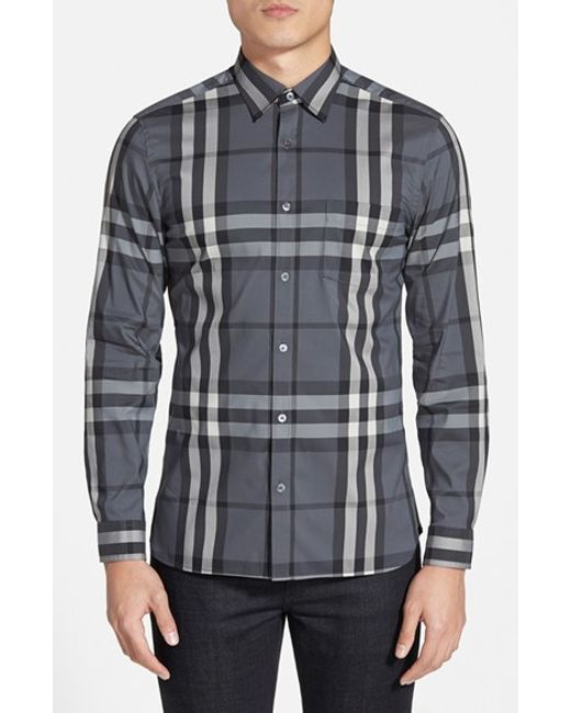 Burberry Brit | Gray 'nelson' Trim Fit Check Sport Shirt for Men | Lyst