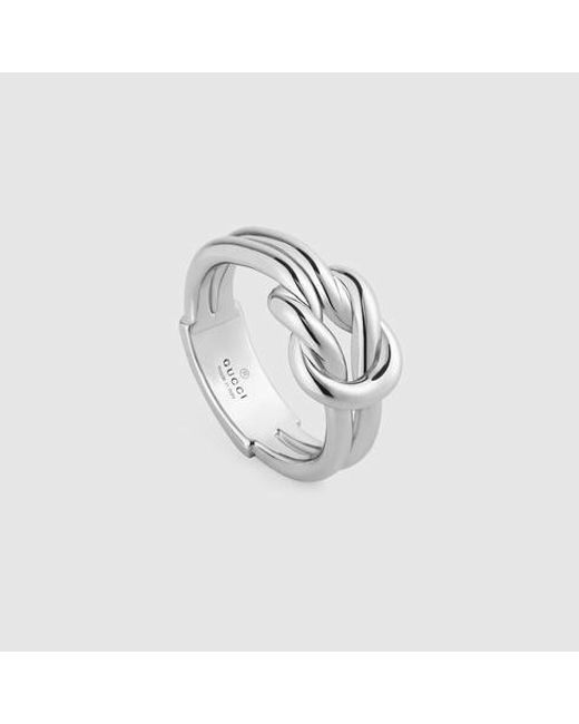 Gucci   Metallic Knot Ring In Silver   Lyst