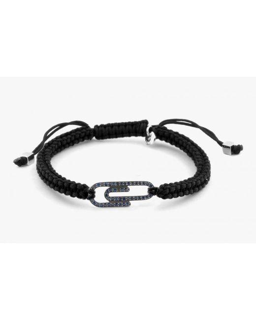 Tateossian | Paper Clip Micro Pavé Macramé Bracelet With Blue Diamonds for Men | Lyst