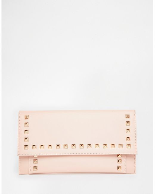 Womens lined leather gloves - Asos Studded Clutch Bag In Pink Nude Save 31 Lyst