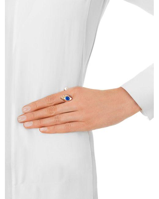 Delfina Delettrez   Multicolor Gold, Pearl & Enamel Eye Ring   Lyst