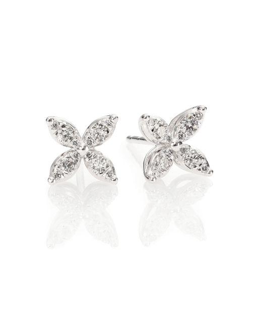 Kwiat | Sunburst Diamond & 18k White Gold Small Flower Stud Earrings | Lyst
