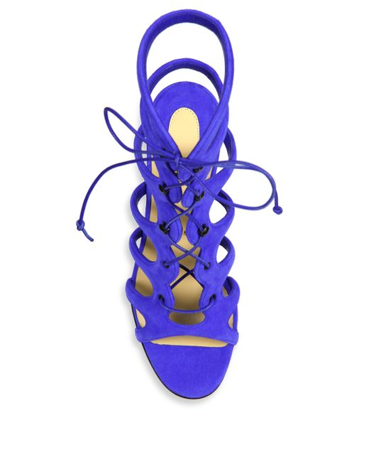 christian louboutin amazoulo suede lace-up sandals