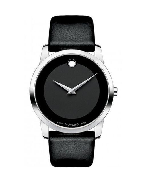 movado museum classic stainless steel watch in black for