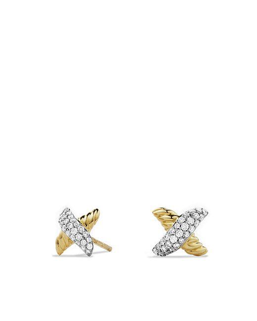 David Yurman | Metallic X Earrings With Diamonds In 18k Gold | Lyst