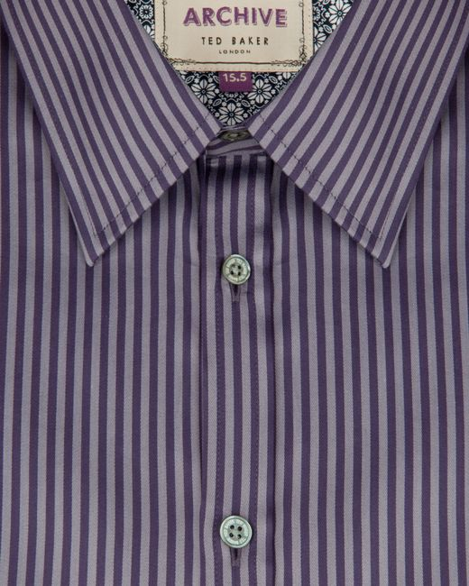 Ted Baker   Purple Satin Striped Shirt for Men   Lyst