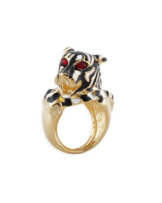 Kenneth Jay Lane | Metallic Black And White Tiger Ring | Lyst