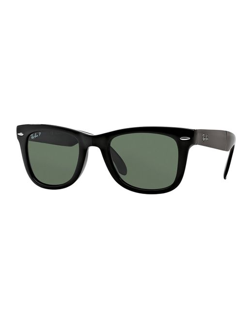 ray ban polarized wayfarer sunglasses in black for men. Black Bedroom Furniture Sets. Home Design Ideas