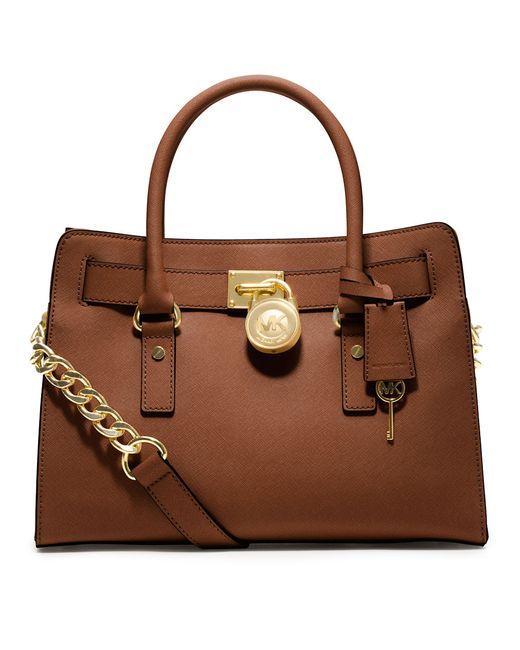 MICHAEL Michael Kors   Brown Hamilton East West Leather Satchel Bag   Lyst
