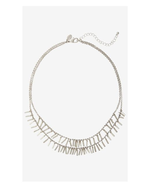 Express | Metallic Double Row Metal Fringe Necklace | Lyst