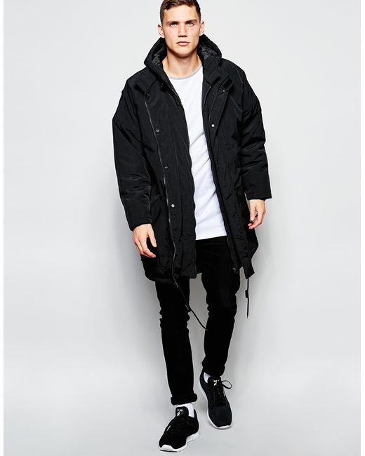 Asos Oversized Parka Jacket In Black For Men Lyst