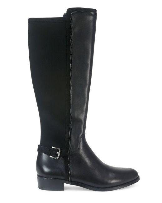 tahari renee leather and neoprene knee high buckle boots